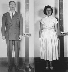 Accused atomic spy Julius and Ethel Rosenberg in a standing mug shot. 1951.