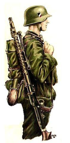 Ww2 Uniforms, German Uniforms, German Soldiers Ww2, German Army, Military Art, Military History, Mg 34, Luftwaffe, Panzer