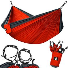 """Camping Kitchen :""""Legit Camping - Double Hammock - Lightweight Parachute Portable Hammocks for Hiking  : Travel  : Backpacking  : Beach  : Yard . Gear Includes Nylon Straps and Steel Carabiners - Charcoal/Red"""" >>> Check this awesome image"""