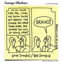 Savage Chickens - Interrogation Savage Chickens, Chicken Jokes, Halloween Jokes, Best Zombie, Funny Stuff, Cartoons, Comics, Funny Things, Cartoon
