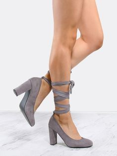 847038cbd41cf2 Online shopping for Almond Toe Suede Wrap Pumps GREY from a great selection  of women s fashion clothing   more at MakeMeChic.