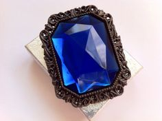 Large Sapphire Blue Victorian Vintage by TheOldJunkTrunk on Etsy, $55.00