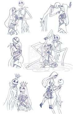 Jack and Sally Sketches by Redhead-K.deviantart.com on @deviantART
