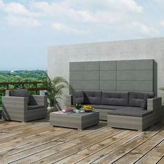 vidaXL Outdoor Sofa Set 17 Piece Wicker Poly Rattan Gray Garden Section Lounge > Rattan color: Gray Cushion color: Dark gray Material: powder-coated steel frame + tempered glass table top Sofa Lounge, Lounge Set Rattan, Patio Lounge Furniture, Furniture Sofa Set, Rattan Garden Furniture, Sectional Sofa, Outdoor Furniture Sets, Rattan Sofa, Cheap Furniture