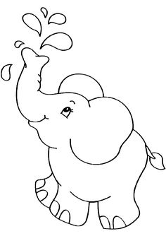Baby Elephant Coloring Pages Easy Animal Drawings, Cute Easy Drawings, Art Drawings For Kids, Drawing For Kids, Easy Coloring Pages, Animal Coloring Pages, Coloring Books, Elephant Template, Deco Jungle