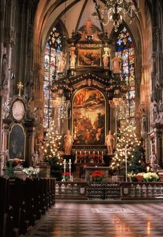 Stephansdom - Wien Christmas time at St Stephens Cathedral - Vienna, Austria St Stephen's Cathedral Vienna, Cathedral Church, Saint Stephen, Old Churches, Catholic Churches, Church Architecture, Beautiful Architecture, Noel Christmas, Vienna Christmas