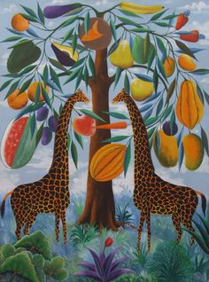 """Painting is by Fernand Pierre who died in 2002. Born in Carrefour near Port-au-Prince on July 1, 1919, Pierre was a wood carver (carving small decorative animals) and engraver, before turning to painting at the Centre d' Art in 1948. In 1951 he completed a mural - """"La Visitation"""" - at the Cathedrale Ste. Trinite de Port-au-Prince."""