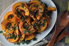 Roasted Squash with Mint, Pepitas, and Balsamic! http://blog.yummly.com/blog/2013/11/simple-seasonal-vegan-side-dishes/