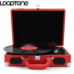 LoopTone 33/45/78 RPM Portable Suitcase Briefcase Turntable Vinyl LP Record Player Phono Players Aux-in Line-out AC110~240V Red