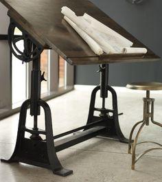 Furniture, Cast Iron Antique Industrial Drafting Table: Antique Drafting Table…
