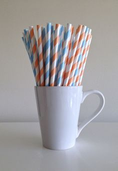 Paper Straws - 25 Peach and Light Blue / Coral Baby Blue Striped Party Straws by PuppyCatCrafts, $3.60