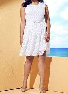 Alfani Plus Size Sleeveless Dot-Lace A-Line White Dress 0X