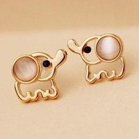 Newest Korean Cute Elephant Opal Gold Plated Earrings Wholesale Fashion Jewerly For Girls Gifts SY