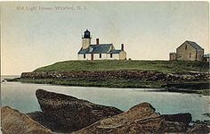 Poplar Point Lighthouse Rhode Island - 1907 Postcard - The light went into service on November 1, 1831, with the focal plane of the fixed white light 48 feet above the water.
