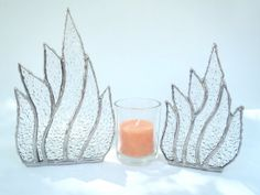 Stained glass candle holders textured art glass by Nostalgianmore, $55.00
