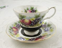 "Royal Albert Black Tea Cup and Saucer, Country Fayre Series ""Kent"", Vintage Bone China"