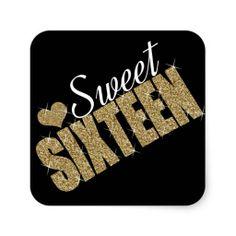 Golden Sparkles Sweet 16 Party Favor/Envelope Seal  Stickers