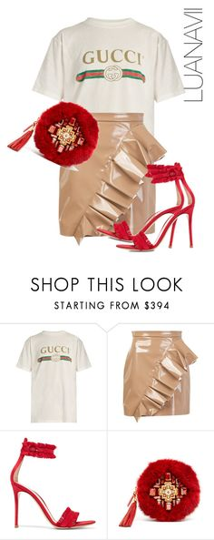 """Untitled #520"" by luanavii ❤ liked on Polyvore featuring Gucci, MSGM, Gianvito Rossi and MCM"