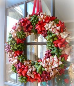 Completely Cute Homemade Bow Wreath | AllFreeHolidayCrafts.com