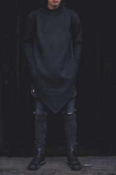 Fashion. Street Style. Rough. Oversized. Hoodie. Black  Black. Jeans. Boots. Clean. Minimal. Modern. Man. Attitude. Difference. Express. Materials. Details. Concrete. Cozy.
