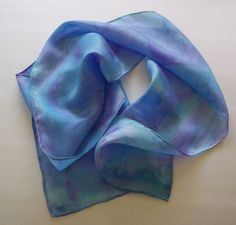 Periwinkle Turquoise and VioletHand painted Silk by margaretclay