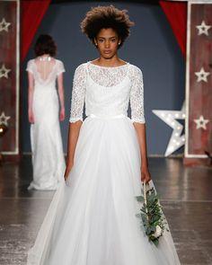 Jenny Packham Spring 2018 Wedding Dress Collection | Martha Stewart Weddings – Ball gown wedding dress with three-quarter sleeves