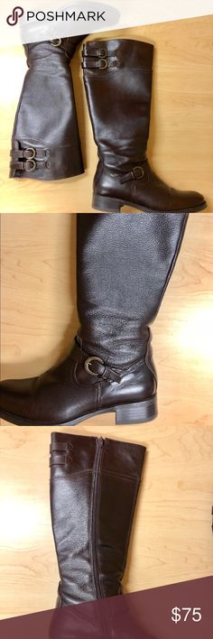 Aldo Chocolate Brown Riding Boots W Brass Buckles Gorgeous leather. No wear or tear on leather. Heels have barely been worn. Excellent condition. Aldo Shoes Heeled Boots