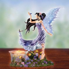 Amethyst Haze Luminary Fairy Figurine by Nene Thomas