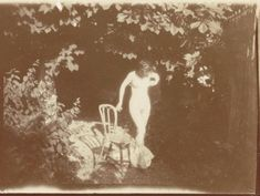 Bonnard - Marthe in Montval, standing by a chair, 1900-01. Modern print from original negative; 1 1/2 x 2 1/8 in. Musée d'Orsay, Paris, Gift of the children of Charles Terrasse, 1992.