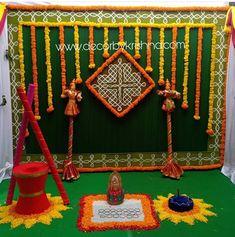 Housewarming Decorations, Diy Diwali Decorations, Wedding Stage Decorations, Backdrop Decorations, Flower Decorations, Festival Decorations, Backdrops, Desi Wedding Decor, Wedding Mandap