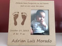 Frame using Baby's actual Footprints!  You just get take some footprints and you get a personalized frame keepsake.  So cute!! #LoveMotifs