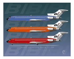 "Braniff International Boeing 727 - 200 Early ""Jellybean"" scheme"