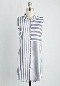 Sail-Blazing Style Tunic - Long, Woven, Blue, White, Stripes, Casual, Nautical, Sleeveless