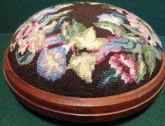 Vintage Hand Needlepoint Embroidery Decorated Footstool Bun / Kneeling Stool