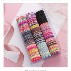 50pcs Set Small Beaded Hair Bobbles Kids Girls Ladies Bands Accessories Ponytail
