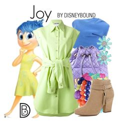 """Joy"" by leslieakay ❤ liked on Polyvore featuring jucca, Moschino, Mixit, River Island, Bling Jewelry, disney, disneybound and disneycharacter"