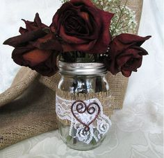 Burlap and Lace Mason Jar Accented with Copper Wire Heart - Rustic Wedding, Shabby Chic Wedding, Wedding Decoration