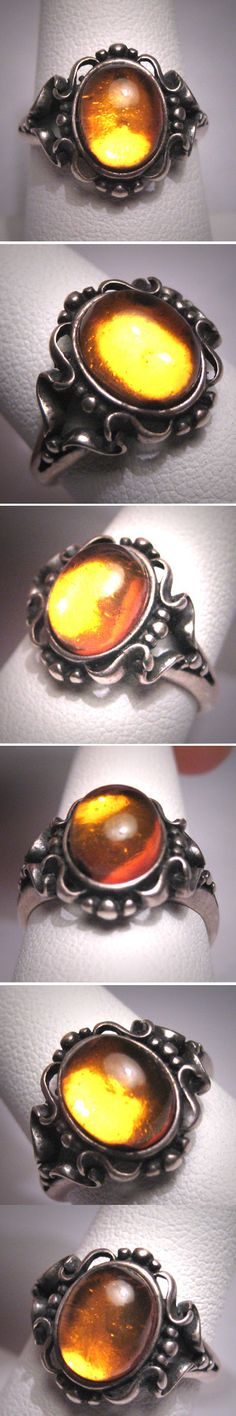 Antique Amber Ring Vintage Victorian Art by AawsombleiJewelry, $265.00