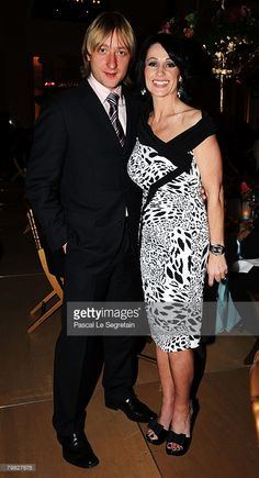 Evgeni Plushenko and Nadia Comaneci during the Laureus World Sports Awards post awards dinner at the St.Petersburg Grand Philharmonic Hall on February 18, 2008 in St.Petersburg, Russia.