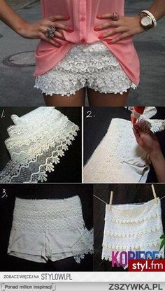 DIY: Lace Shorts. I love these can someone tell me did she use a pair of gym of shorts? would it be easier to sew  lace on than white jean shorts?