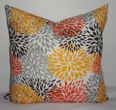 Flower Burst Pillow Cover Orange Brown Gold Grey Mums Decorative Pillow Cover 18x18 on Etsy, $18.00