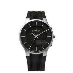 Skagen Black Silicone Men's Watch-Steel 852XLSRM