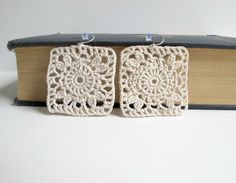 Flower in a Square -  Crocheted Earrings - Lacy Off White. $13.00, via Etsy.