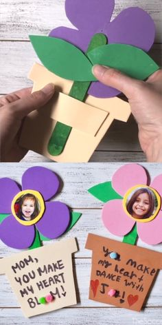 A sweet kid-made photo flower craft perfect for Mother's Day or Spring! A sweet kid-made photo flower craft perfect for Mother's Day or Spring! Easy Mother's Day Crafts, Mothers Day Crafts For Kids, Spring Crafts For Kids, Fathers Day Crafts, Mothers Day Cards, Crafts For Kids To Make, Creative Crafts, Kids Crafts, Craft Kids