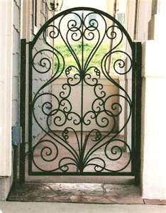 Beautiful wrought iron security iron gates and fences to provide a secure barrier to your home. Custom designed at Melbourne Wrought Iron. Wrought Iron Gate Designs, Wrought Iron Gates, Garden Gates And Fencing, Tor Design, Design Design, Metal Gates, Iron Art, Iron Decor, Entrance Gates