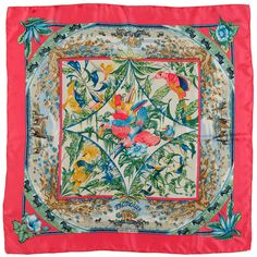 Hermes Silk Scarf, Tropiques by 'Toutsy' Bourthoumieux | From a collection of rare vintage scarves at https://www.1stdibs.com/fashion/accessories/scarves/