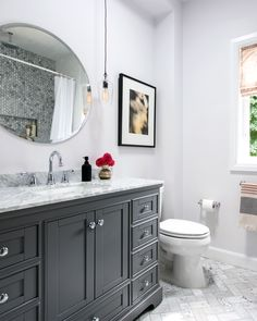 Small Bathroom Design: Get Bathroom Renovation Ideas In This Video! Get gorgeous bathroom design ideas! H&H partnered with The Home Depot to give a dated small bathroom a complete makeover with a classic grey Bathroom Design Small, Bathroom Interior Design, Modern Bathroom, Classic Bathroom Design Ideas, Traditional Bathroom Design Ideas, Comfort Room Tiles Small Bathrooms, Bathroom With Tile Walls, Mirror In Bathroom, Vanity For Small Bathroom