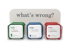 Via helpineedhelp.com  Color-coded packaging system    Help Remedies  (a.k.a. help, I have a...) is a collection of simplified packages that contain a single active ingredient for a specific symptom.