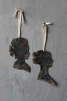 French Country Chateau Home Decor Set of 2 Tin Vintage Style Women Silhouettes with Hanging Ribbons - One of each style shown included. White Owl and Company offers a full line of Home Decor and Home Furnishings. www.WhiteOwlCompany.com