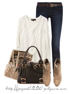 """""""H&M Scarf and Boots"""" by jaycee0220 ❤ liked on Polyvore featuring AG Adriano Goldschmied, rag & bone, H&M and Barneys New York"""